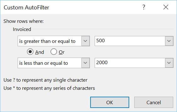 Excel Custom AutoFilter