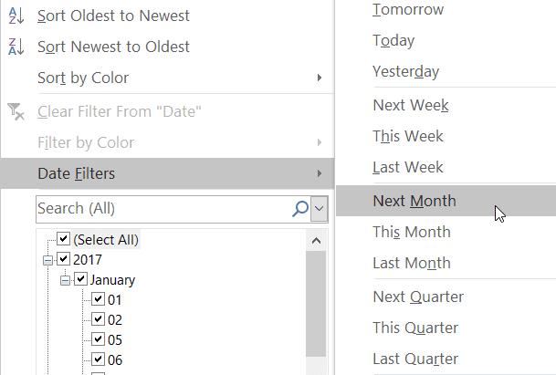Excel Filter Dates