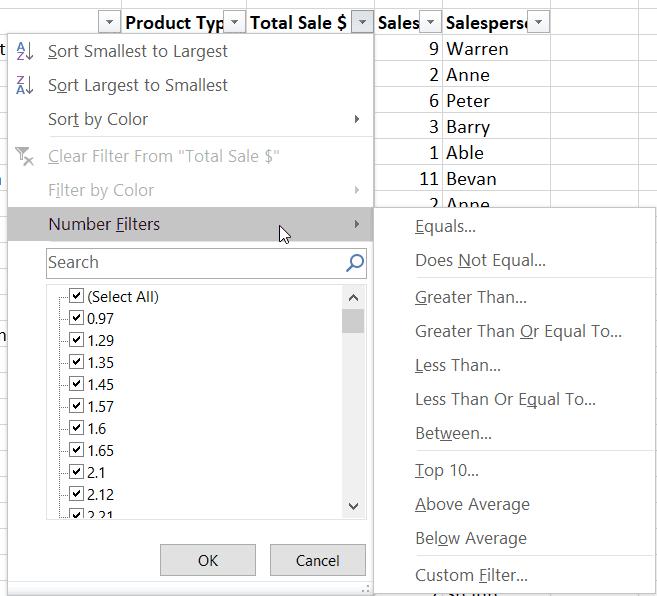 Excel Filter Number