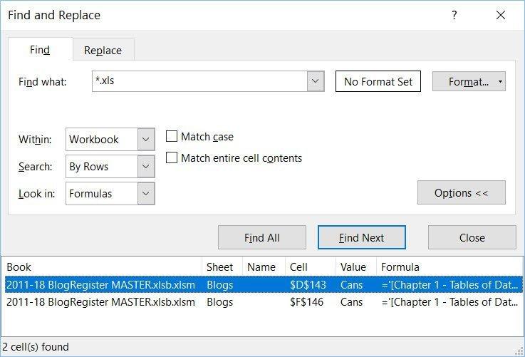 Excel Find Linked cells