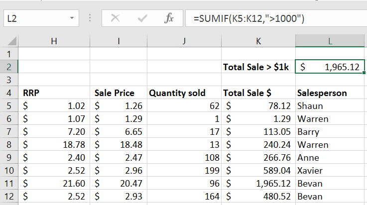 SUMIF Excel 1
