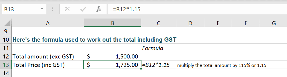 Calculate GST in Excel 2