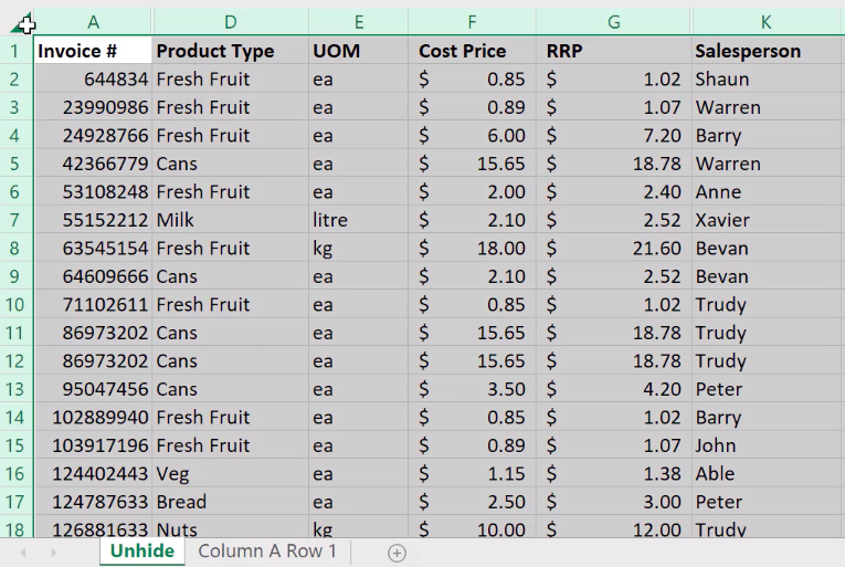 How to unhide columns in Excel 2
