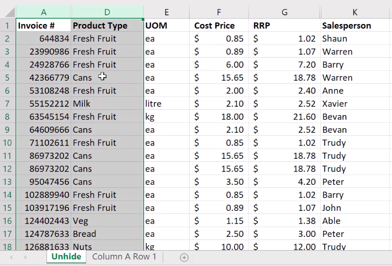 How to unhide columns in Excel 4