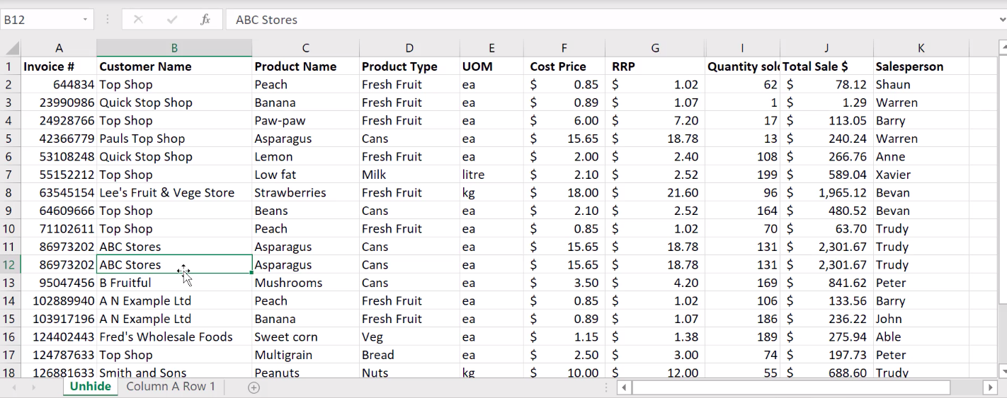 How to unhide columns in Excel 9