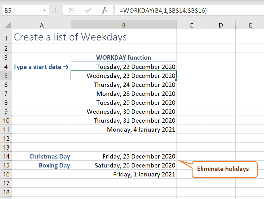 Excel show weekdays only