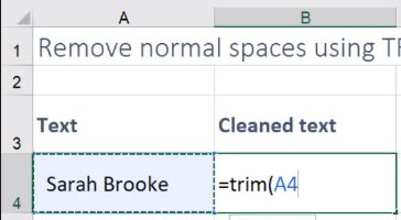 how to quickly remove extra spaces in excel