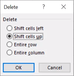 in excel remove blank rows