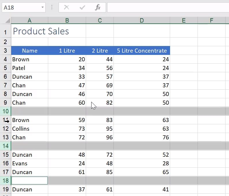 how to remove empty rows in excel