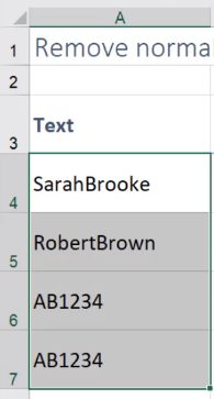 remove a space in excel before text
