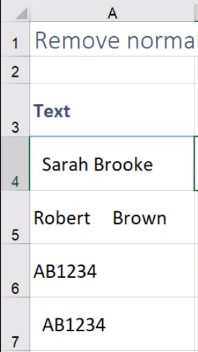 remove spaces in excel at end of text