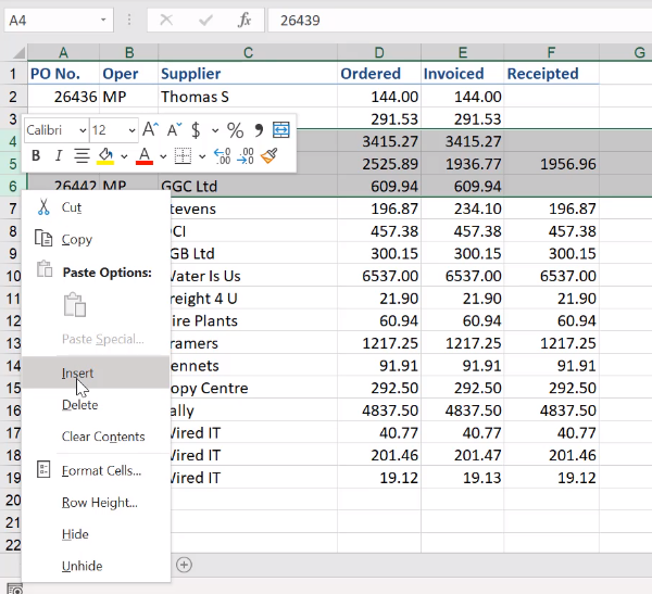 how to insert multiple rows in microsoft excel