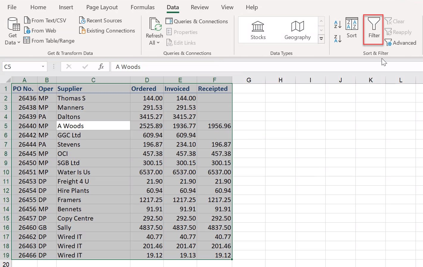 How to sum filtered data in Excel