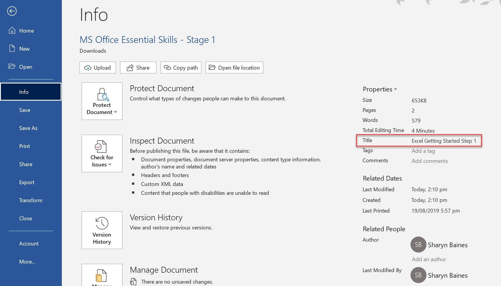 Document properties Word
